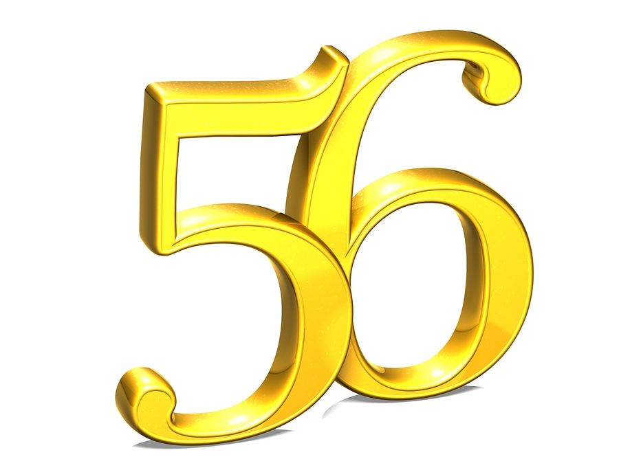 3d Gold Number Fifty-six On White Background