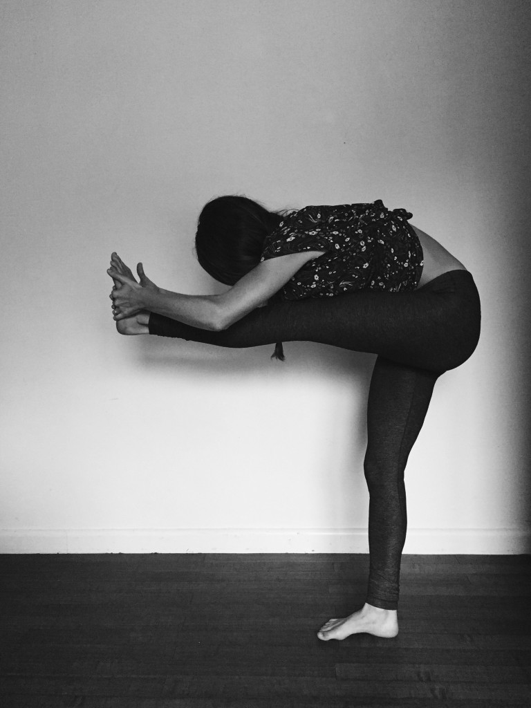 Standing forehead pose - yoga